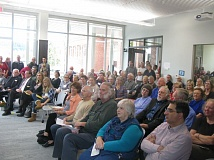 PHOTO BY RAYMOND RENDLEMAN - Citizens overwhelmingly supported the May 2014 ballot measure that authorized the city to borrow $6 million and packed the library's new Community Room for the grand-opening ceremonies on Oct. 15, 2016.