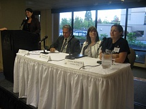 PHOTO BY RAYMOND RENDLEMAN - At the Oct. 12 debate are Diana Helm (from left) moderating for House District 40 candidates Mark Meek, Evon Tekorius and Christine VanOrder.