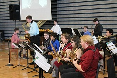 SPOKESMAN PHOTO: ANDREW KILSTROM - The Wilsonville High School Jazz Band performed three songs at the Fall Festival of the Arts.