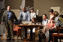 SPOTLIGHT PHOTO: NICOLE THILL - Students at Scappoose High School rehearse a scene from the first play of the school year, 'You Can't Take It With You!' on Thursday, Oct. 20.