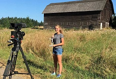 SUBMITTED PHOTO - Camryn Pettenger-Willey spent three hours filming her part of the Bat Squad!s national webinar earlier this August, which officially aired during Bat Week Oct. 24-31.