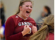 SANDY POST: DAVID BALL - Sandys Cheyenne VanHeule lets out a scream after the Pioneers picked up a point in their quarterfinal match Friday.
