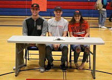 REVIEW/NEWS PHOTO: JIM BESEDA - La Salle Prep athletes Ole Arntson (baseball), Quinten Pearson (lacrosse) and Aleah Goodman (basketball) signed National Letters of Intent to play college sports in the 2017-18 school year during ceremonies Wednesday.
