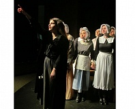 PHOTO BY ELLEN SPITALERI - Abigail Williams (Bailey McDonald) brings chaos to a court scene in 'The Crucible,' when she leads a group of girls in the sighting of a supernatural creature.
