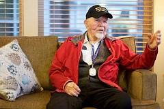 TIMES PHOTO: JAIME VALDEZ - World War II POW Guido Pinamonti recalls the events when he was shot down by the Germans while trying to bomb one of Hitlers hideouts. He spent some time in a German POW camp.