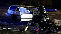 COURTESY PHOTO: OREGON STATE POLICE - Two teenagers died early Friday morning when the Volvo they were driving collided with a commercial truck on Interstate 5 north near Tualatin.