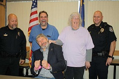 HOLLY SCHOLZ/CENTRAL OREGONIAN - Pictured back row left to right: Prineville Police Chief Dale Cummins, Redemption House Executive Director Greg Sanders, GOBRA member Michele Youker, and Police Captain Larry Seymour and front, Crook County Commissioner Ken Fahlgren.
