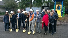 PHOTO BY RAYMOND RENDLEMAN - On Nov. 14, partners gather with traditional gold shovels to break ground for Clackamas Women's Services Village of Hope project.