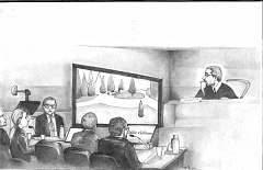 ILLUSTRATION BY SARA DEL ROSARIO - ank Gable's lawyers presented animation of the crime scene at last week's hearing. From left, the particiants are federal public defender Mark Ahlemyer, federal public defender Nell Bown, the video screen operator, state lawyer Nicholas Kallstrom, Samuel Kubernick. and U.S. Magistrate Judge John Acosta.