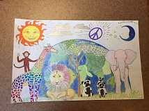 SUBMITTED PHOTO - Melissa Don's entry in the 29th annual Lions International Peace Poster Contest features a peace symbol and animals from around the world.