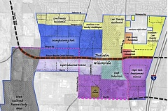 COURTESY OF THE CITY OF TUALATIN - The area shaded in blue just south of the strip of medium-low-density residential at top center on this land use concept map of the Basalt Creek area is at the center of a debate in Tualatin over how it should be zoned.
