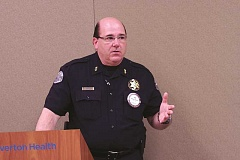 INDEPENDENT FILE PHOTO - Police Chief Jim Ferraris, pictured speaking at a meeting earlier this year, completed a leadership training program that focused on homeland security issues earlier this month.