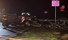 COURTESY KOIN 6 NEWS - Three people were seriously injured in the crash in Hillsboro, November 30 2016.