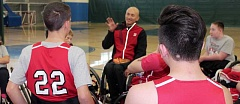 THE TIMES: MANDY FEDER-SAWYER - Paralympian Will Groulx tells members of the Junior Portland Wheel Blazers basketball team to study and always practice.