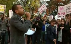 KOIN 6 NEWS - Portland Resistence leader Hregory McKelvey spoke at a studenyt protest against Donald Trump at Holladay Park on Nov. 21.