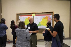 SPOKESMAN PHOTO: ANDREW KILSTROM - Boundary Task Force member Grady Nelson discusses the districts boundary process with West Linn-Wilsonville School District parents at Wednesdays public meeting Nov. 30.