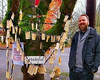 RITA A. LEONARD - Gary Sanders created a Gratitude Tree near his Sellwood home, and enjoys reading the regular comments that are posted there.