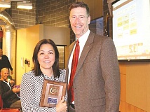 SUBMITTED PHOTO - Canby High School's Kimie Caroll (left) and Canby High Principal Greg Dinse