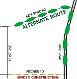 WASHNGTON COUNTY LAND USE AND TRANSPORTATION - Washington County suggests that drivers avoid Fischer Road while it is under construction and use this alternative.