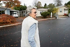 JAIME VALDEZ - Rita Loberger, who is a volunteer leader of the Manufactured Housing/Oregon State Tenants Association, strolls through Eldorado Villas, where she has lived for years.