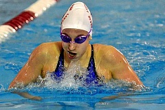 REVIEW FILE PHOTO - Today's Lake Oswego at Tualatin high school swim meet has been canceled sdue to the expected weather event. Pictured here is LO's Lisa Kaunitz from 2015.