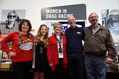 PORTLAND TRIBUNE: JEFF ZURSCHMEIDE - World of Speed founder Sally Bany, Kacee Pitts, Sue Mitchell, Dave Schaeffer, and co-founder Dave Bany at the ribbon-cutting ceremony for the new Women in Racing exhibit.""