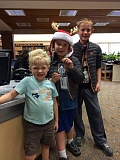 SUBMITTED PHOTO  - Nathan, Liam and Braylon Abbott found one of Lake Oswegos Community Treasure Hunt holiday ornaments hidden in the Lake Oswego Public Library last week. Not only do they get to keep the porcelain ornament for their own holiday tree, but if they present it at the Holiday Gallery in the 510 Museum and ARTspace (510 First St., Lake Oswego), theyll also get a 10-percent discount on purchases. The Holiday Gallery features art created by 30 local artists. Better hurry -- it closes Dec. 23.