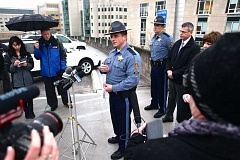 PAMPLIN MEDIA GROUP PHOTO: JAIME VALDEZ - Captain Bill Fugate with Oregon State Police addresses a group of reporters during a press conference on Tuesday, Dec. 27.