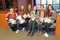 REVIEW PHOTO: JILLIAN DALEY - Members of the Lake Oswego High School womens studies class collected donations for honeless women during the Sanitary Items Drive. From left: Hailey Earl, Cami Pontarelli, Kaity Olsen, Daylee Shaw, Laura Ayre and Sophie Weigel.