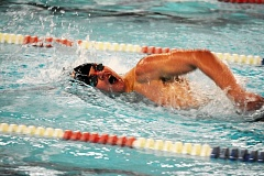 SPOTLIGHT PHOTO: JAKE MCNEAL - Indians senior Austin Sharp won the 50-yard freestyle in 25.08 seconds and was first in the 100 free (55.98) to help his side win the River City Invitational on Tuesday at Eisenschmidt Pool in St. Helens.