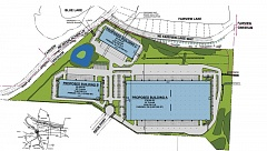 CONTRIBUTED GRAPHIC - A blueprint showing three warehouses is not Trammell Crow's preferred option for the site, but it is a developable option, the company says.
