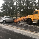 PHOTO COURTESY OF WASHINGTON COUNTY SHERIFF'S OFFICE. - The caption for this Sheriff's Office photo, taken this weekend, reads, 'Please drive slow. This vehicle had snow chains on and still lost control. Non injury.'