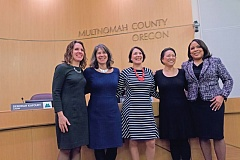 PORTLAND TRIBUNE: JONATHAN HOUSE - The county's new board posed for a photo at the Jan. 3 swearing-in of three new members. Shown from left to right are Chair Deborah Kafoury and Commissioners Sharon Meieran, Jessica Vega Pederson, Lori Stegmann and Loretta Smith.