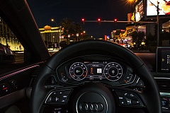 PAMPLIN MEDIA GROUP: JEFF ZURSCHMEIDE - Dash-day.JPG - Audi's implementation of Traffic Light Information (TLI) displays the next traffic signals current state and predicts the number of seconds until the signal will change.