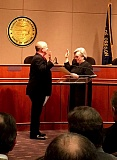 PAMPLIN MEDIA GROUP: PETER WONG - New Clackamas County Chair Jim Bernard took the oath of office Jan. 9 from Circuit Judge Deanne Darling in ceremony at Public Services Building in Oregon City.