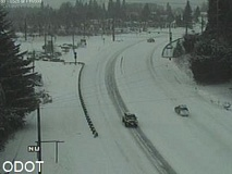 COURTESY PHOTO: ODOT - Here's a look at the road conditions on Highway 26 at Firwood, just east of Sandy.