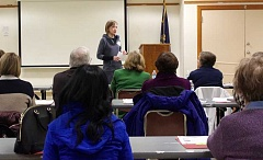 THE TIMES: MANDY FEDER-SAWYER - Marielle McKenna spoke to about 70 volunteers who will work at the severe weather shelter during a training that took place last Thursday.