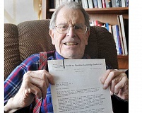 GARY ALLEN  - Newberg resident Jack Kirkwood displays a letter he received from Martin Luther King Jr. in 1967.
