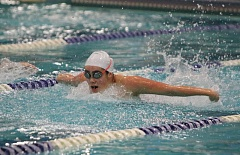 REVIEW/NEWS PHOTO: JIM BESEDA - Clackamas' Emma Gould, picture in the Cavs' Jan. 6 meet against Gresham, won the girls' 100-yard butterfly in 1:05.72 at Tuesday's double dual with Central Catholic and David Douglas.