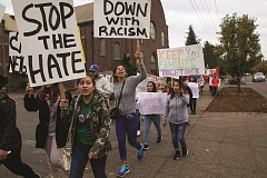 INDEPENDENT FILE PHOTO: JULIA COMNES - Protesters rally against President-elect Donald Trump's stances on immigration and Latino rights on Nov 11, 2016, in Woodburn.