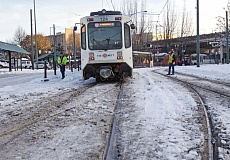 PORTLAND TRIBUNE: JAIME VALDEZ - Lingering ice caused a MAX train to derail on a seldom-used track in the Rose Quarter on Friday.