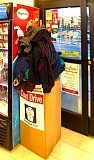 ELIZABETH USSHER GROFF - The donation box at Woodstock BiMart was piled high with coats donated in the KOIN-TV Holiday coat drive. Eight overflowing boxes were collected at the Woodstock store, and distributed to nonprofit Portland Youth Builders.