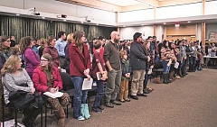 NEWS-TIMES FILE PHOTO - About 150 people packed a Jan. 9 meeting of the Forest Grove City Council, most urging councilors to declare the city a sanctuary.