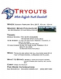 FLYER COURTESY OF SAM MCCORMICK - White Buffalo Youth Baseball tryouts will be held Sunday, Feb. 5, in Bend.