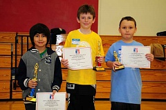BILL VOLLMER/FOR THE PIONEER - The annual Elks Hoop Shoot took place Saturday, Jan. 14, at Jefferson County Middle School. Above, from left, 8 and 9-year-old boys participants Andreaz Plazola, Reed Simmelink and Bryson Thornton-Palomo pose with their trophies.