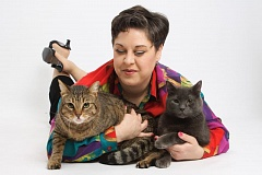 SUBMITTED PHOTO - Lil Miss Mapleton (left) along with Gatitto and their 'Mom,' Jo Becker.