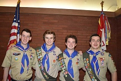 SUBMITTED PHOTO: ISABELLA MUELLER - There are some new Eagle Scouts in town. From left: Jeff Crowell, Jeffrey Mueller, Mike Crowell and Raphael Lavios.