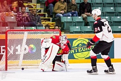 COURTESY: BRETT CULLEN - Radovan Bondra of Prince George (right) scores on Portland Winterhawks goalie Cole Kehler during a victorious shootout for the host Cougars on Wednesday night.