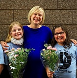 PHOTO COURTESY: LESLIE ROBINETTE - Gladstone music teacher Kelly Jacobs (middle) congratulates fifth-graders Maggie Meyer and Payden Schumacher, who performed this month with the All-State Choir in Eugene.