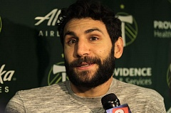 TRIBUNE PHOTO: JAIME VALDEZ - Diego Valeri, Portland Timbers midfield, addresses a question from the media Monday morning at Providence Park.